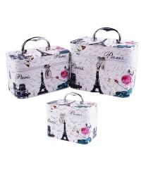 Набор чемоданчиков для косметики 3 в 1, Париж