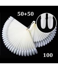 Дисплей-веер на кольце миндалевидный 2 набора по 50 делений, матовый