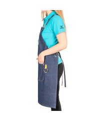 Фартук джинсовый синий с карманами и портупеей