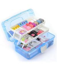 Кейс пластиковый для маникюрных инструментов, большой (голубой)