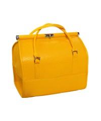 Саквояж профессиональный кожаный с ручками, жёлтый (30х23,5х24,5 см)