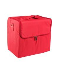 Сумка-саквояж тканевый на молнии, красный (29х26х21 см)