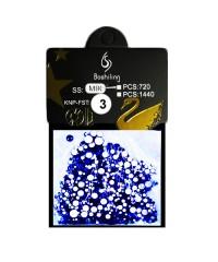 Стразы для дизайна 1440шт (стекло микс размеров SS3-SS20), темно-синие №3