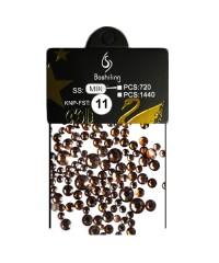 Стразы для дизайна 1440шт (стекло микс размеров SS3-SS20), кофе №11