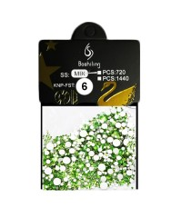 Стразы для дизайна 1440шт (стекло микс размеров SS3-SS20), светло-зеленые №6