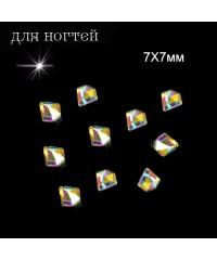 Стразы фигурные голографические 3D, многогранные в пакете №3, 7X7мм, 10 шт.