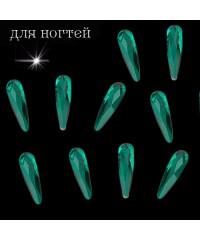 Стразы для дизайна ногтей изумрудные Луч (10 шт)
