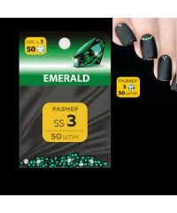 MILV, Стразы для дизайна SS3 (стекло 1.3-1.5 мм.) EMERALD 50 шт