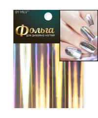 Фольга для дизайна ногтей голография (серебро) 19