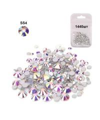 Стразы для дизайна SS4 (стекло 1.5-1.7 мм.) SILVER AB, 1440 шт.