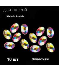 Стразы Swarovski, Австрия, многогранные овал 5X3 мм, 10 шт. (АВ)