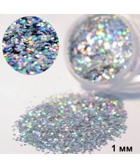 Глиттер серебряный голографический в баночке, 1 мм