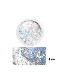 Глиттер белый радужный в баночке, 1 мм