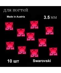 Стразы Swarovski, Австрия, квадратные, 3,5 мм. 10 шт. (красные)