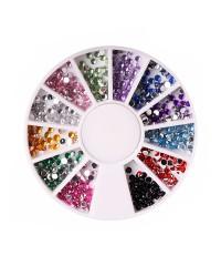 Стразы для дизайна ногтей (цветной микс 02) в карусельке