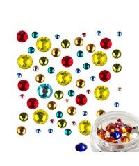 Стразы стекло микс цветов и размеров в баночке №3