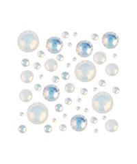 Стразы цветные микс размеров в баночке WHITE OPAL 09