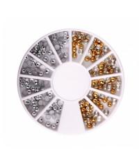 Половинки для дизайна ногтей (серебро-золото) в карусельке