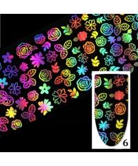 Фольга переводная голографическая для дизайна ногтей УЗОРЫ №6