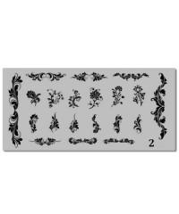 Пластина для стемпинга металлическая на пластиковой основе 12x6 см №02