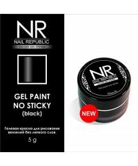Гелевая краска Nail Republic без липкого слоя черная, 5гр