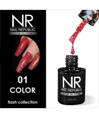 Гель-лак светоотражающий Nail Republic Flash №01, красный 10 мл.