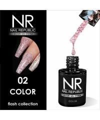 Гель-лак светоотражающий Nail Republic Flash №02, розовый 10 мл.