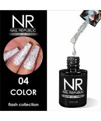 Гель-лак светоотражающий Nail Republic Flash №04, серебро 10 мл.