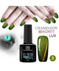 """Гель-лак """"TNL - magnet lux"""" №03 - зелёный с золотым переливом (10 мл.)"""