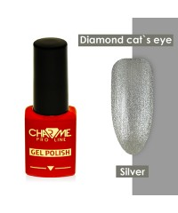 Гель-лак ШАРМ Diamond cat's eye gel polish silver