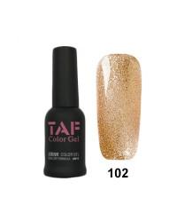 Гель-лак TAF №102, медно-золотой с мелкими блестками, 8мл