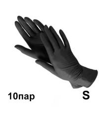Перчатки нитриловые черные (10 пар в пакете), размер S