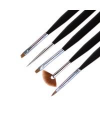 Набор кистей для дизайна ногтей (короткая ручка, 5 шт) №3