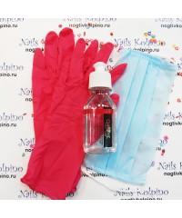 Набор защитный перчатки нитрил, антисептик, маска