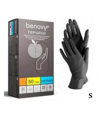 Перчатки нитриловые черные Benovy (50 пар в упаковке), размер S
