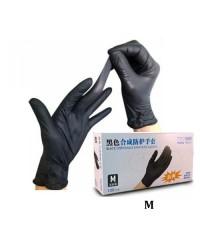 Перчатки нитрило-виниловые черного цвета размер M, 50 пар