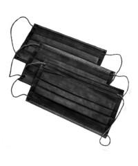 Маска защитная трёхслойная на резинке черная, 50 шт.