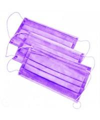 Маска защитная трёхслойная на резинке фиолетовая, 10 шт.