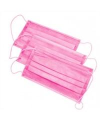 Маска защитная трёхслойная на резинке розовая, 50 шт.