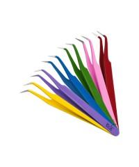 IRISK, Пинцет для ресниц изогнутый, цветной, длина 12,5 см.