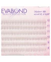 EVABOND, Пучки безузелковые для наращивания, 3 волоска, Ø0,07 микс (01 C изгиб)