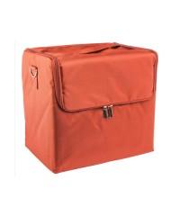 Сумка-саквояж тканевый на молнии, оранжевый (29х26х21 см)