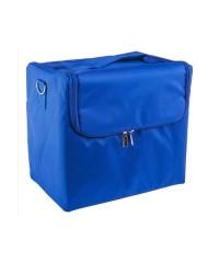 Сумка-саквояж тканевый на молнии, синий (29х26х21 см)