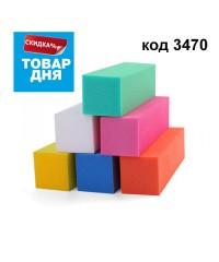 Блок шлифовальный цветной 4-сторонний 150 грит (в ассорт), 1 шт 3470